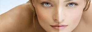 Women tanned face before and after the suntan